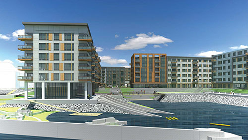 Rendering of Clippership Wharf, The Architectural Team