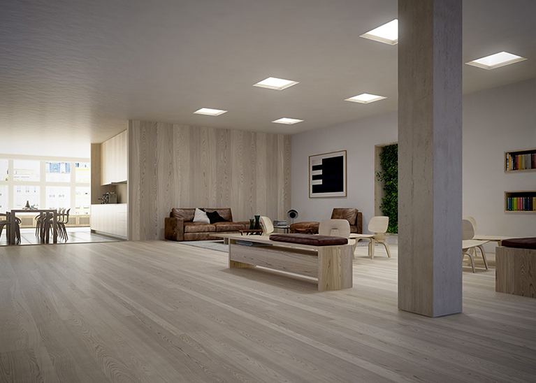 An interior space fitted with Parans Solar Lighting luminaires.
