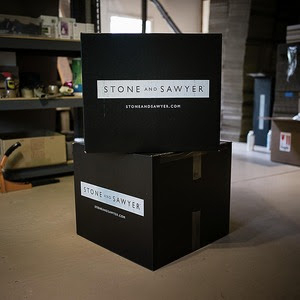 Stone and Sawyer packaging in the production studio