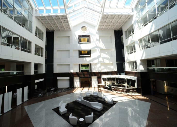 Kimmerle Newman Architects.Readesigned atrium lobby at 100 Campus Drive in Florham Park, NJ