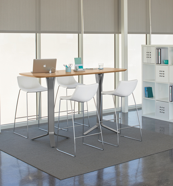 Vero 42-Inch High Arc Rectangle Table, Chirp Barstools