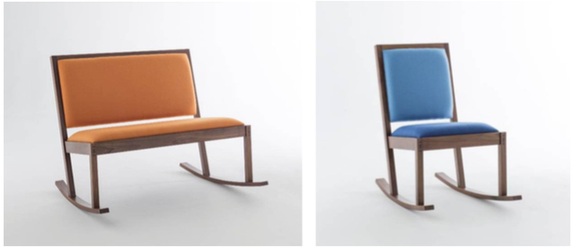 Channels' new edition 'Gillespie' double rocking chair in Kvadrat 'Hero' fabric