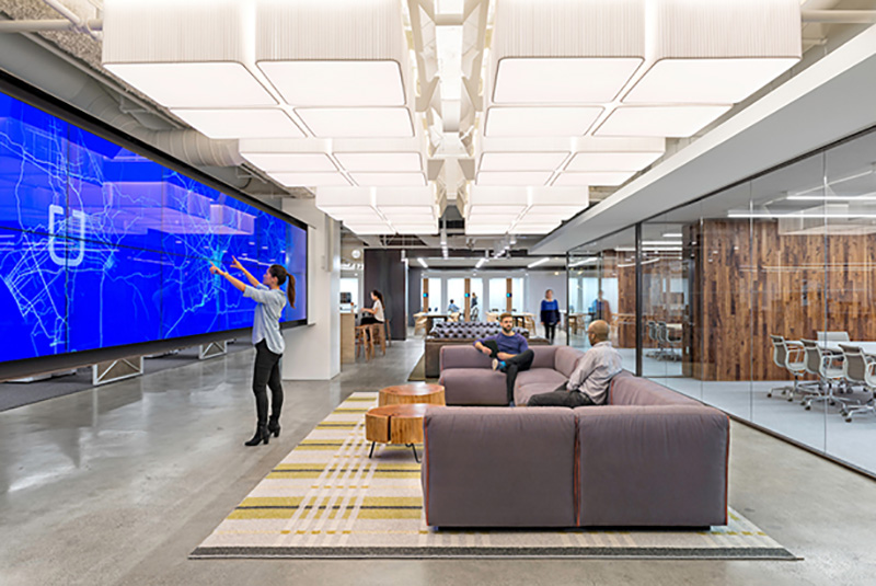 Uber headquarters, fourth floor office space features touchscreen maps that monitor traffic densities and measure coverage in the cities served (San Francisco, California, 2014). Photo: Jasper Sanidad