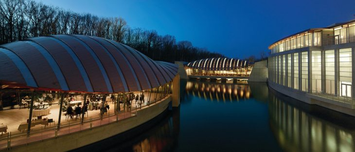 Crystal Bridges Museum of American Art, serving as both a museum and culture center with galleries, classrooms, a library, a lecture hall, and curatorial and administrative offices (Bentonville, Arkansas, completed 2011).Photo: Timothy Hursley