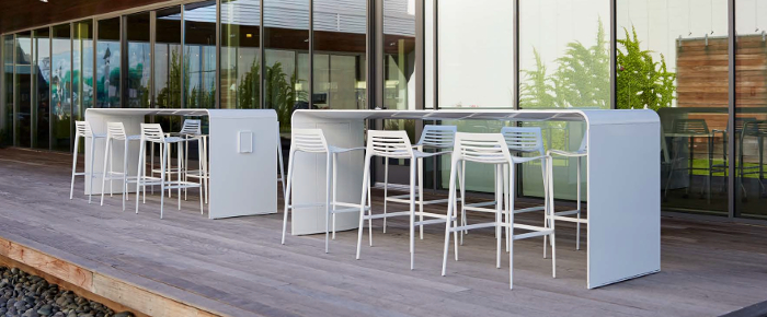 new go outdoor table from landscape forms officeinsight