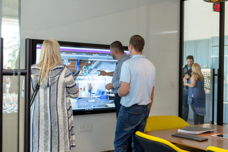 Guests Experience The New Microsoft Surface Hub Technology.